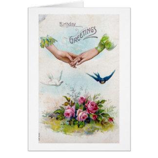 Mãos e pássaros dos cartões de aniversários do