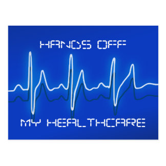 Mãos fora de meu cartão dos cuidados médicos