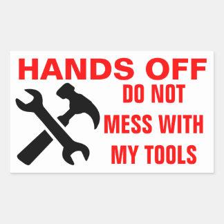 Mãos fora de minhas etiquetas das ferramentas adesivo em formato retângular
