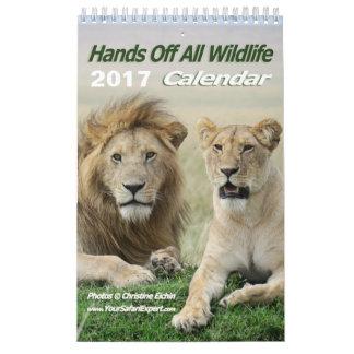 Mãos fora de todo o calendário dos animais