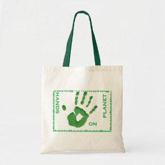mãos no saco do planeta sacola tote budget