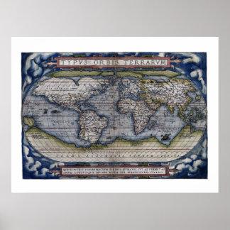 Mapa 1570 do mundo poster