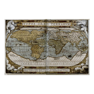 Mapa 1570 do mundo pôsteres