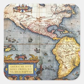 Mapa 1587 dos Americas Adesivos Quadrados