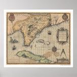 Mapa 1591 de Cuba & de Florida Pôsteres