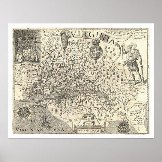 Mapa 1624 de Virgínia John Smith Pôster