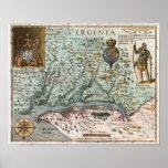 Mapa 1627 de Virgínia Poster