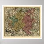 Mapa 1712 de Luxembourg Europa Posters