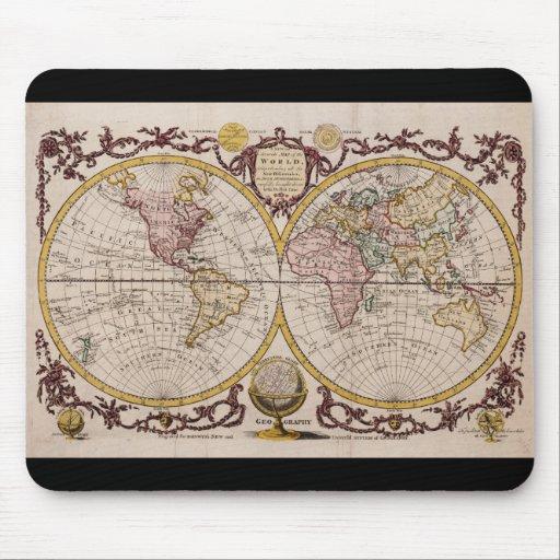 Mapa 1782 do mundo por George Augustus Baldwyn Mouse Pad