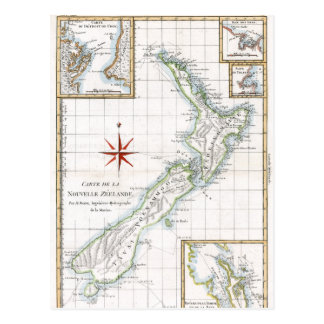 Mapa 1787 de Nova Zelândia Cartão Postal