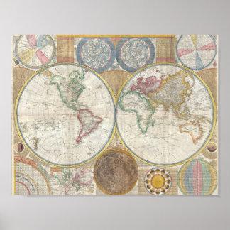 Mapa 1794 do mundo pôster