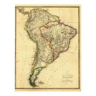 Mapa 1817 de Ámérica do Sul Cartão Postal