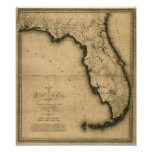 Mapa 1823 de Florida Poster