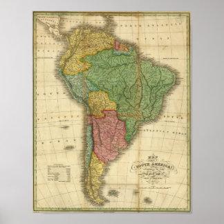 Mapa 1826 de Ámérica do Sul do vintage por Anthony Pôster