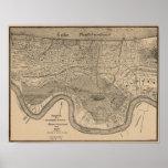 Mapa 1849 de Nova Orleães Posteres