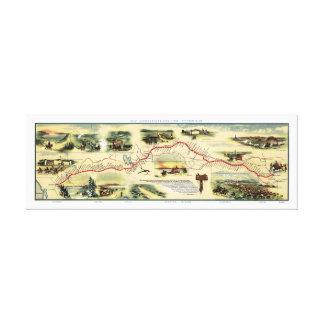 Mapa 1860 da imagem da rota de Pony Express Impressão De Canvas Esticada