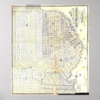 Mapa 1862 de San Francisco Pôster