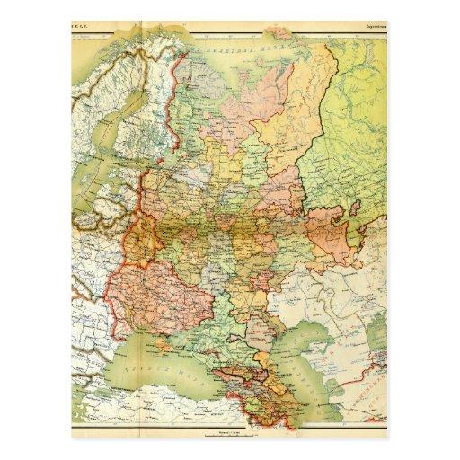 Mapa 1928 de União Soviética velha URSS Rússia Cartões Postais