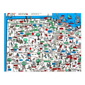 Mapa 1966 retro de Toledo Findlay Marion Bowling Cartão Postal