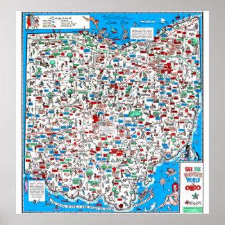 Mapa 1966 retro dos desenhos animados de Ohio Pôster