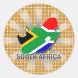 Mapa 2,0 da bandeira de África do Sul Adesivo Em Formato Redondo