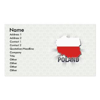 Mapa 2 0 da bandeira do Polônia Cartões De Visita