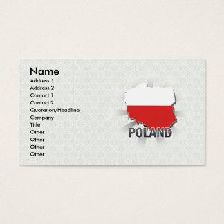 Mapa 2,0 da bandeira do Polônia Cartão De Visitas