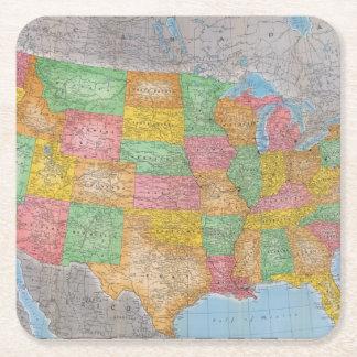 Mapa 3 dos Estados Unidos Porta-copo De Papel Quadrado
