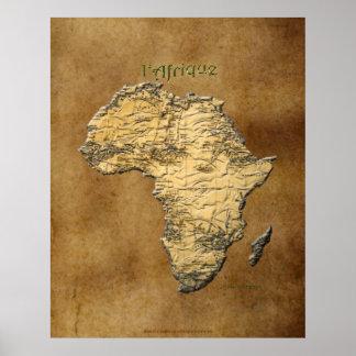 mapa 3D de ÁFRICA no poster da arte do pergaminho