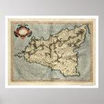 Mapa adiantado 1595 de Mercator Sicília Poster