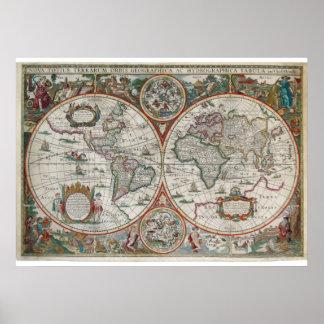 Mapa adiantado, cor surpreendente e pintura, poster
