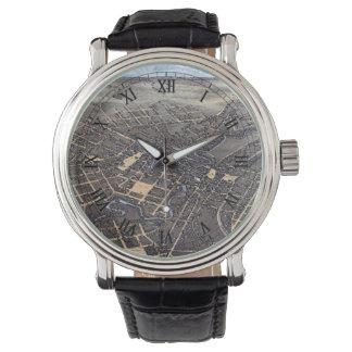 Mapa aéreo antigo da cidade de San Antonio, Texas Relógio De Pulso