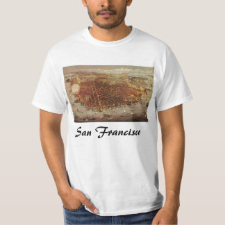 Mapa aéreo antigo de San Francisco, Califórnia Camiseta