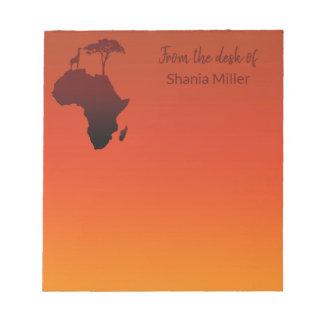 Mapa africano do safari - bloco de notas