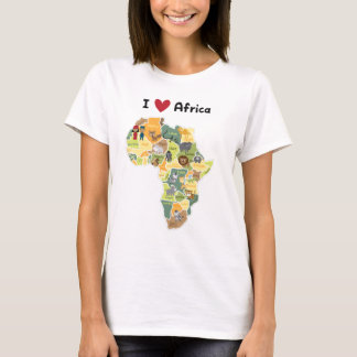 Mapa africano do safari - coração África de I - Camiseta