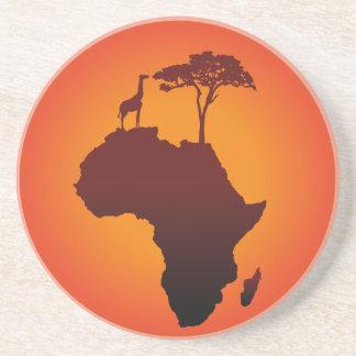 Mapa africano do safari - porta copos do arenito