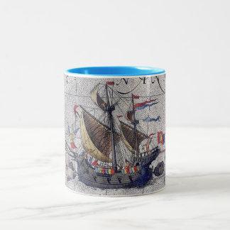 Mapa alto do navio do Oceano Pacífico Caneca De Café Em Dois Tons