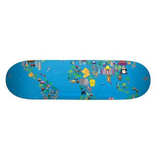 Mapa animal do mundo para crianças e miúdos skates