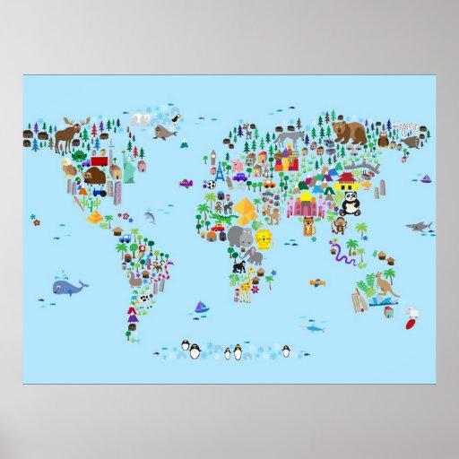 Mapa animal do mundo pôsteres