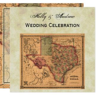 * Mapa antigo #1 de Texas, BG afligida #3 Convite Quadrado 13.35 X 13.35cm
