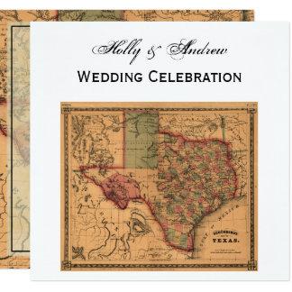 * Mapa antigo #1 de Texas Convite Quadrado 13.35 X 13.35cm