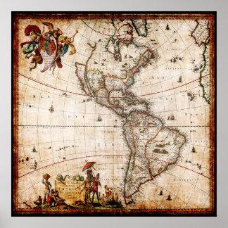 Mapa antigo bonito de America do Norte do vintage Poster