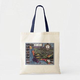 Mapa antigo, cidade aérea de Los Angeles Bolsa Tote