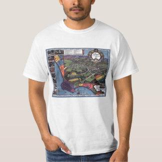 Mapa antigo, cidade aérea de Los Angeles Camiseta