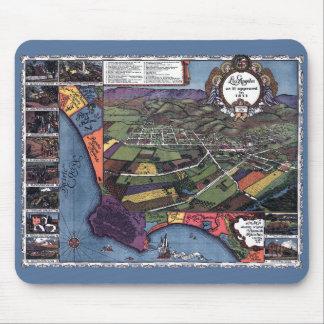 Mapa antigo, cidade aérea de Los Angeles Mousepad