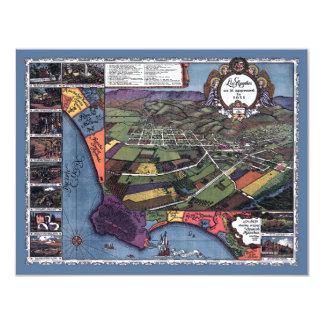 Mapa antigo convite de Los Angeles, Califórnia
