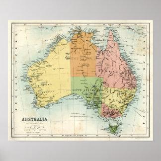 Mapa antigo de Austrália Pôster