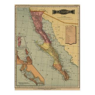 Mapa antigo de Baja California Cartão Postal