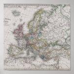 Mapa antigo de Europa cerca de 1862 Poster