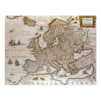 Mapa antigo de Europa por Willem Jansz Blaeu, Cartão Postal